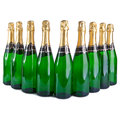 Sparkling wine bottles christmas still life on a white background Stock Photo