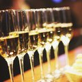 Sparkling wine glasses champagne stand in row at the bar, catering, selective focus background Royalty Free Stock Photo
