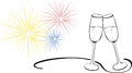 Sparkling wine glasses - New Years Eve Royalty Free Stock Photo