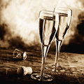 Sparkling wine two glass of Royalty Free Stock Photography