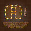 Sparkly alphabet and numbers vector set of Royalty Free Stock Photos