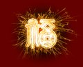 Sparkly chinese character fortune in centre on dark red background Royalty Free Stock Image