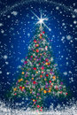 Sparkly Christmas Tree on Blue Starry Night Sky Royalty Free Stock Photo