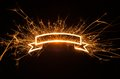 Sparkly glowing ribbon banner with copy space on dark background Stock Images