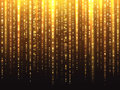 Sparkly gold glitter effect with falling down luminous particles vector background