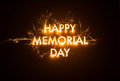 Sparkly happy memorial day title on dark background Royalty Free Stock Photos