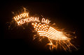 Sparkly happy memorial day title with flag on dark background Stock Photo