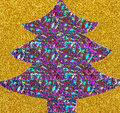 Sparkly purple christmas tree shaped from materials on gold background Stock Images