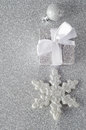 Sparkly Silver Christmas Decorations Stock Image