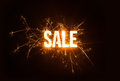 Sparkly stencil sale word on dark background suitable for poster design Stock Images