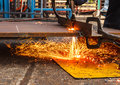 Sparks while cutting steel