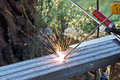 Sparks of Electric Welding Royalty Free Stock Photo