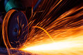 Sparks while grinding Royalty Free Stock Images