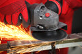 Sparks metall from the grinding machine Royalty Free Stock Image