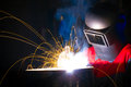 Sparks and smoke while welding Royalty Free Stock Photo