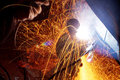 Sparks during welding car Royalty Free Stock Photo