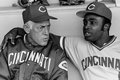 Sparky anderson and joe morgan two cincinnati reds hall of famers manager second baseman image taken from b w negative Royalty Free Stock Photography