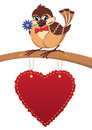 Sparrow in love, postcard Stock Images