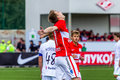 Spartak moscow youth ufa youth game moments Stock Images