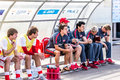 Spartak moscow youth ufa youth game moments Royalty Free Stock Photo