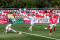 Spartak moscow youth ufa youth game moments Royalty Free Stock Image