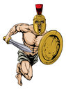 Spartan character an illustration of a gladiator warrior or sports mascot in a trojan or style helmet holding a sword and shield Royalty Free Stock Photo