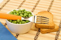 Spartan diet - peas in a bowl and toast Stock Photo