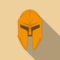 Spartan Helmet silhouette, Greek warrior. Corinthian helmet with long shadow. Vector illustration eps10 Royalty Free Stock Photo