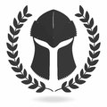 Spartan helmet silhouette with laurel wreath. Front view. Knight, gladiator, viking, warrior helmet icon Royalty Free Stock Photo