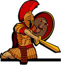 Spartan Mascot with Sword and Shield Stock Image