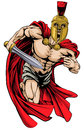 Spartan or trojan man an illustration of a warrior character sports mascot in a style helmet holding a sword Stock Photography