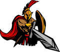 Spartan Trojan Mascot with Sword and Shield Royalty Free Stock Images