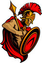Spartan Trojan with Spear and Shield Royalty Free Stock Images