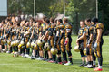 Spartans greetings a competitors russia troitsk city july unidentified on russian american football championship game vs Royalty Free Stock Images
