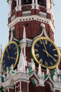 Spasskaya clock tower moscow kremlin close up of two clocks russia Stock Photography