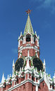 Spasskaya saviour tower moscow kremlin russia in on the sky background in Stock Image