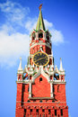 Spasskaya saviour tower in moscow kremlin in russia on sunny day Royalty Free Stock Images