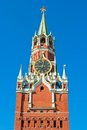 Spasskaya tower beautiful view of in moscow kremlin russia Royalty Free Stock Images