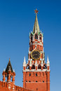 Spasskaya tower of kremlin on the red square in moscow russia Royalty Free Stock Image