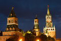Spasskaya tower kremlin wall and red square at night Stock Photo