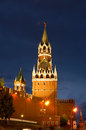 Spasskaya tower kremlin wall and red square at night Stock Images
