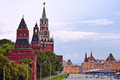 Spasskaya tower kremlin wall and red square at twillight Stock Photo