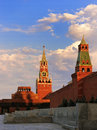 Spasskaya tower of moscow kremlin and mausoleum of lenin russia Royalty Free Stock Image
