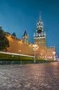 Spasskaya tower of Moscow Kremlin at night. Royalty Free Stock Photo