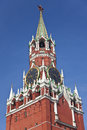 Spasskaya tower of the moscow kremlin russia formerly frolovskaya overlooking red square one towers in are Stock Images