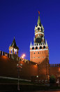 Spasskaya tower of moscow kremlin at the sunset russia Royalty Free Stock Photo