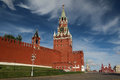 The spasskaya tower moscow is main with a through passage on eastern wall of kremlin which overlooks red Royalty Free Stock Images