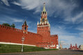 The spasskaya tower moscow is main with a through passage on eastern wall of kremlin which overlooks red Stock Image