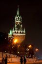 Spasskaya tower moscow at winter night Royalty Free Stock Images