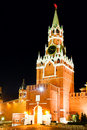 Spasskaya tower at night Royalty Free Stock Images